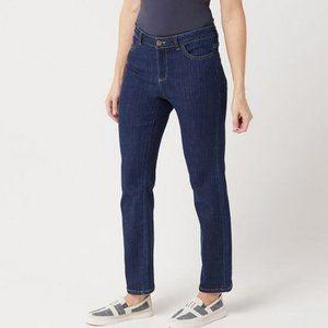 LOGO Lori Goldstein Straight Leg Pinstriped Jean